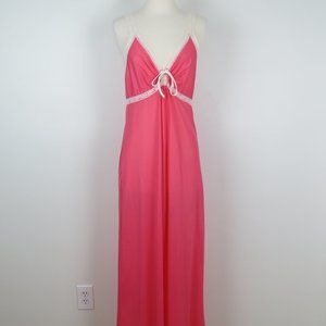 Vintage 1970s Pink Nylon Nightgown with Lace Trim